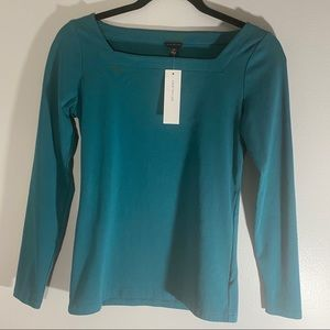 Teal Ann Taylor square-neck top NWT